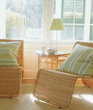 Don't be afraid to use wicker furniture indoors. It can lighten up the feel of any room.