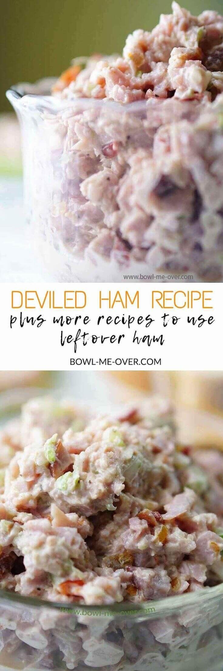 What to do with leftover ham? Use it to make Deviled Ham - salty and sweet, creamy and crunchy. Delicious on bread or crackers. #leftovers #hamsalad #deviledham #bowlmeover via @bowlmeover
