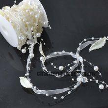 Línea de pesca de Perlas Artificiales de Hoja de Cadena de Perlas de Flores Guirnalda Del Banquete de Boda DIY Decoración 1 Metros CP0298x(China)