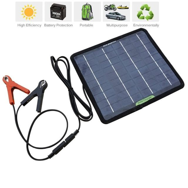 Eco Worthy 12 Volts 5 Watts Portable Power Solar Panel Battery Charger Backup For Car Boat Batteries Review Solar Panel Battery Solar Charger Solar