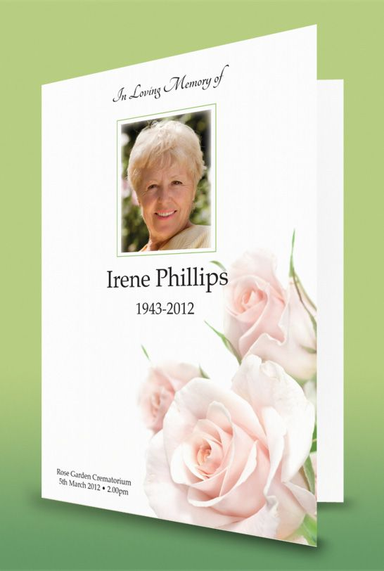 Funeral order of service featuring pink roses