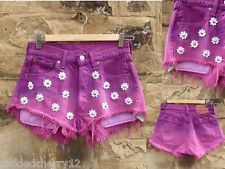 Vintage dyed levis shorts with studded daisies