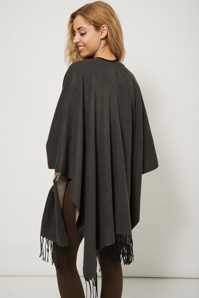 DOUBLE SIDED OPEN FRONT FRINGE PONCHO #Unbranded #Poncho
