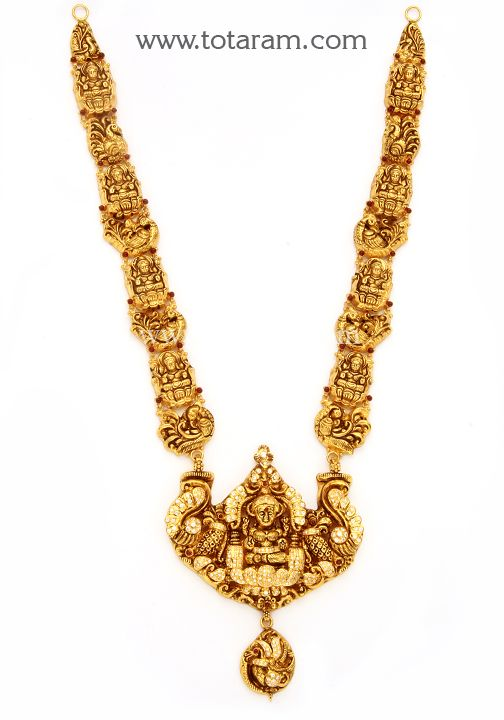 22K Gold 'Lakshmi' Long Necklace with Cz (Temple Jewellery): Totaram Jewelers: Buy Indian Gold jewelry & 18K Diamond jewelry