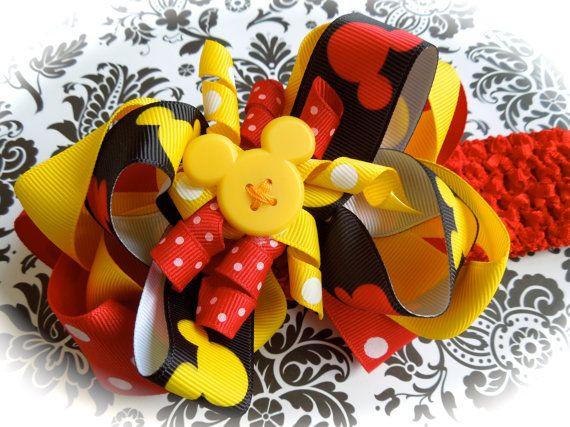 Disney's Minnie Mouse polka dot ribbon 3 layer bow by ashligug, $8.50