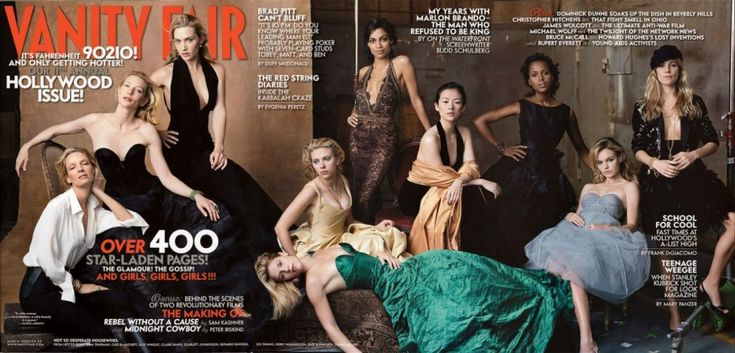 2005    From left: Uma Thurman, Cate Blanchett, Kate Winslet, Claire Danes, Scarlett Johansson, Rosario Dawson, Ziyi Zhang, Kerry Washington, Kate Bosworth, and Sienna Miller. by Annie Leibovitz