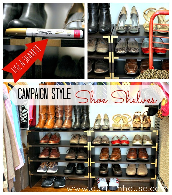 Campaign style shoe shelves and other DIY shoe storage ideas