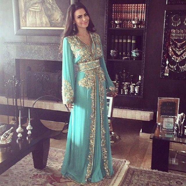 2016 dubai kaftan ouro applique adorno luxuriante verde brilhante com decote em v vestido longo-vestido de BAILE de manga NM41 Oriente médio