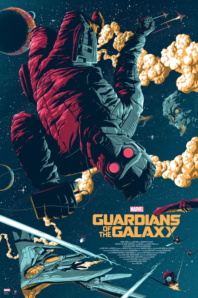 """""""Guardians of the Galaxy"""" limited edition Marvel poster. Officially licensed Film Poster by Florey. Regular and variant Marvel poster. Marvel Variant Art."""