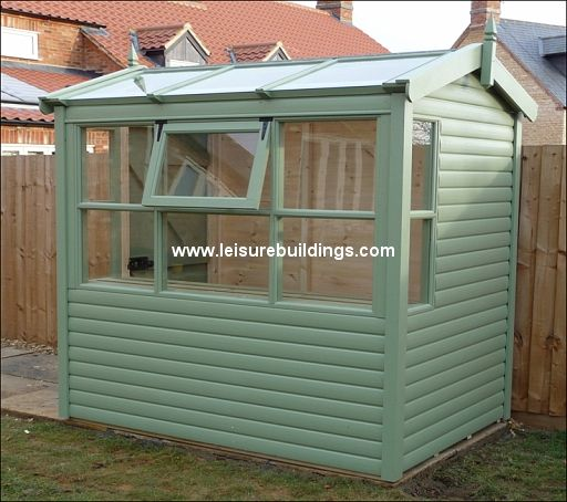 7ft x 5ft Apex Potting Shed with 1/2 glass roof in T&G Loglap cladding with optional sage treatment applied