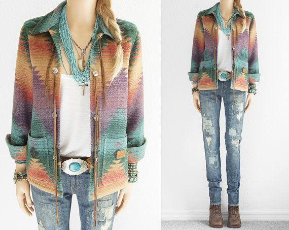 Ralph Lauren Indian Blanket Jacket Leather Fringe Navajo Indian Blanket Coat Native American Turquoise Vintage Southwestern Cowgirl Jacket s...