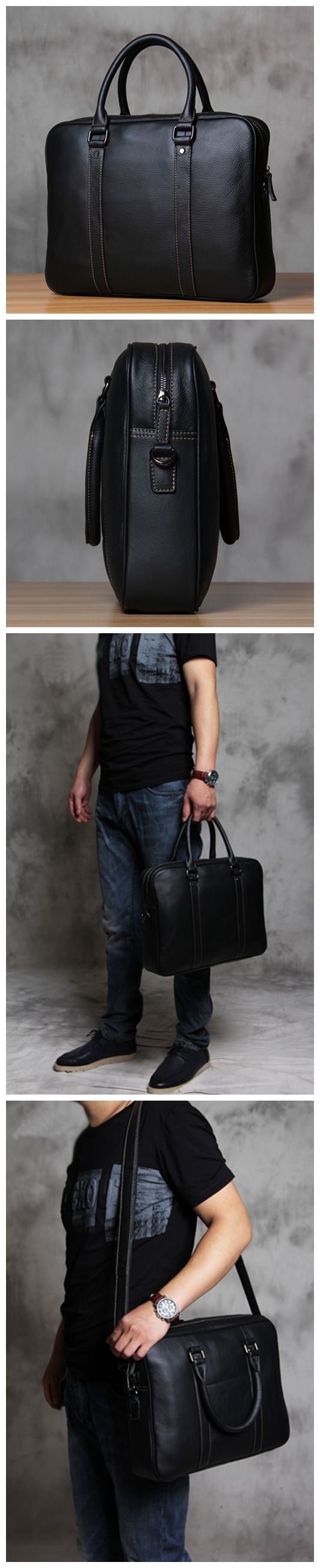 Handmade Men's Leather Briefcase Messenger Bag Handbag Fashion Laptop Bag YS103