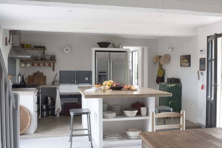The modern farmhouse kitchen at Mas Maroc, Amanda Pays and Corbin Bernsen's house in the South of France. Tim Beddow photo from Open House.