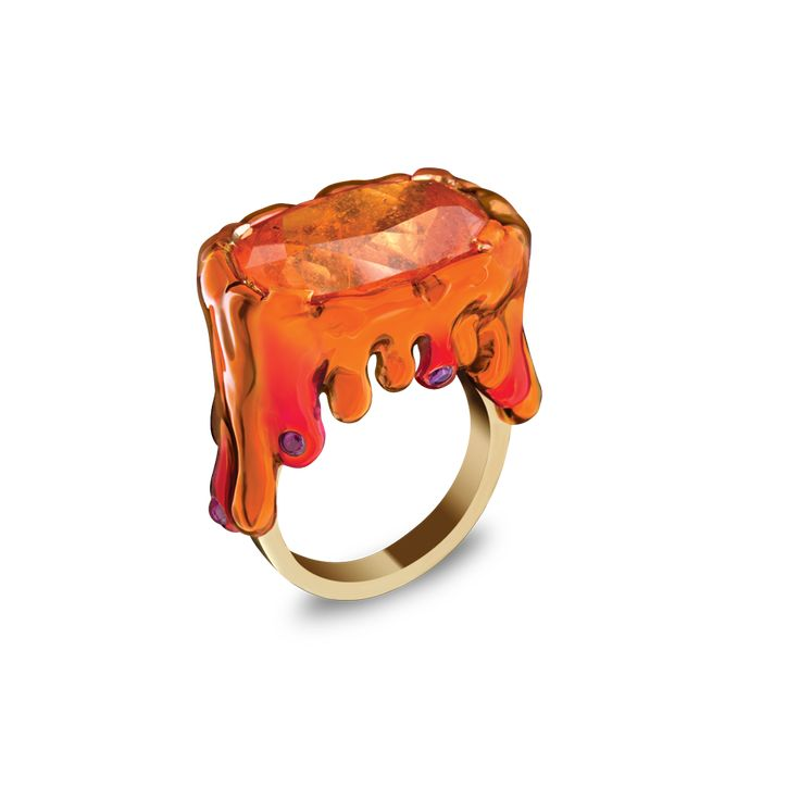 Solange Azury-Partridge, Supernature collection, Blood orange ring, Mandarin garnet, Ruby and lacquer ring set in 18ct red gold