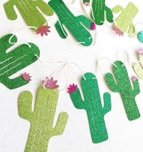 Glitter Cactus Banner - Sparkle Banner - Cactus Decor // Home Decor // Summer Party Decoration // Kids Room Decor                                                                                                                                                                                 Más
