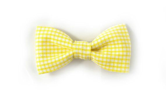 Men Kids Bow Tie  gingham yellow white plaid bowtie  by nicebuzz