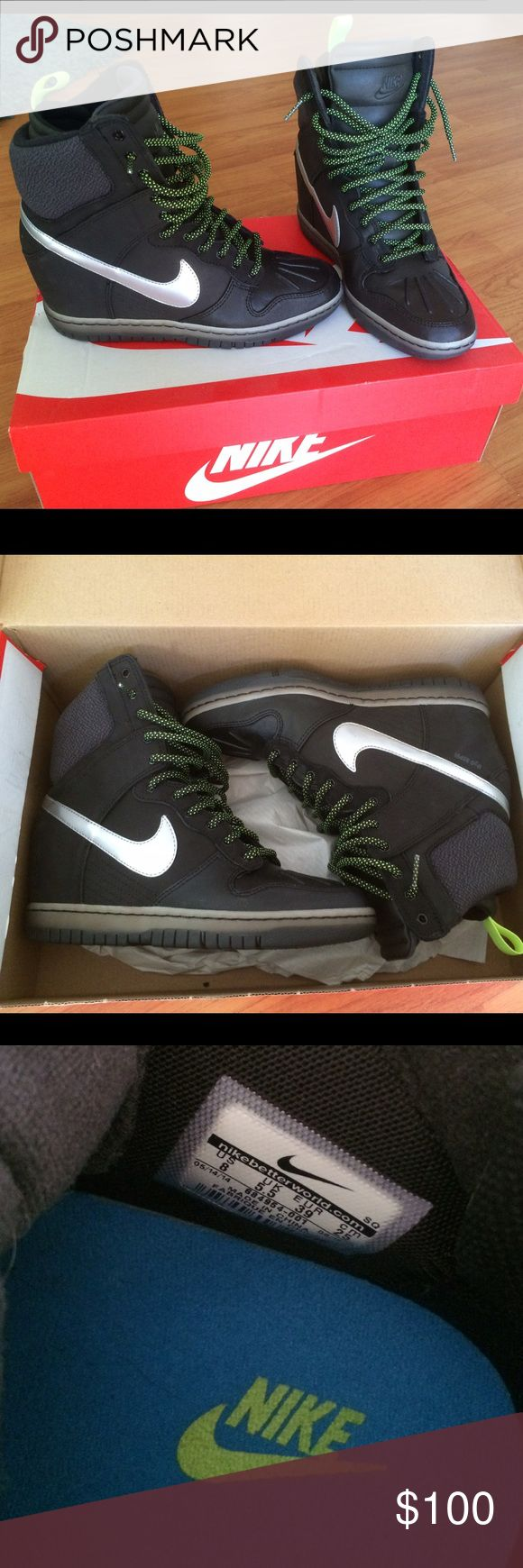 Nike dunk sky hi womens wedge sneakers Nike dunk sky hi womens wedge sneakers. Black with neon laces. Great condition, worn maybe 5 times. No wear and tear. Still have the box as well! Nike Shoes Athletic Shoes
