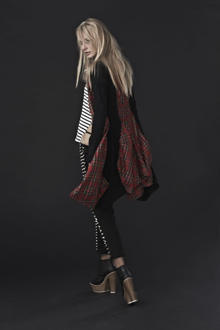 'Breaking Plaid' Jacket, 'Stripe Poker' top and 'Hot Studded' pants.