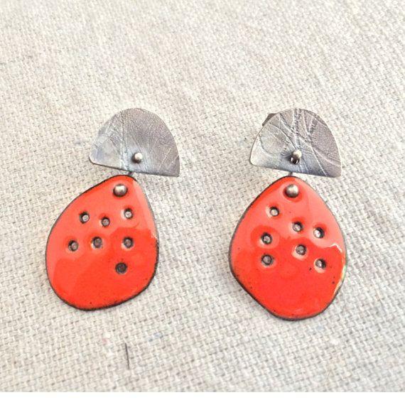 Orange Mini-Me Enamel Earrings by Metalchic