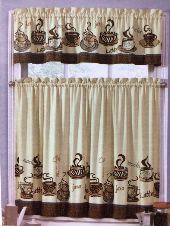 Cafe Java Latte Zebra Animal Print Tiers U0026 Valance Set Interiors By Design  Tans #InteriorsbyDesign #Cottage