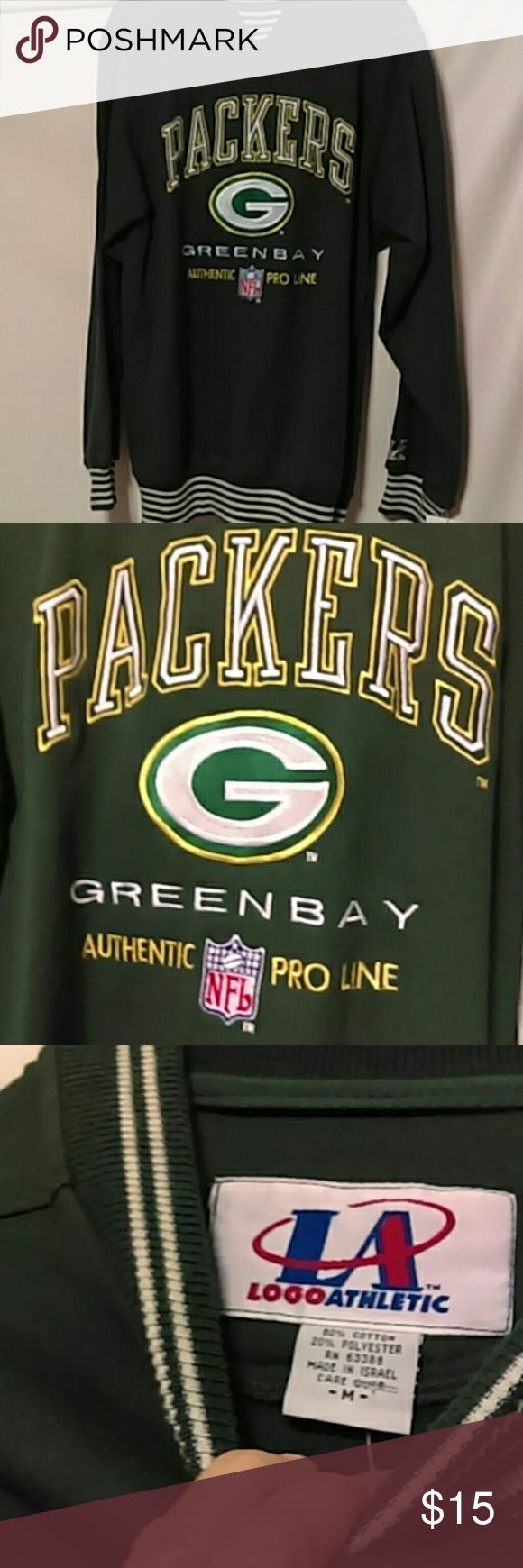 Men's NFL Green Bay Packers Sweatshirt NWT Size Med 80% polyester  20% cotton Green and white striped collar, cuffs and bottom. Smoke free house with 1 cat. Tops Sweatshirts & Hoodies