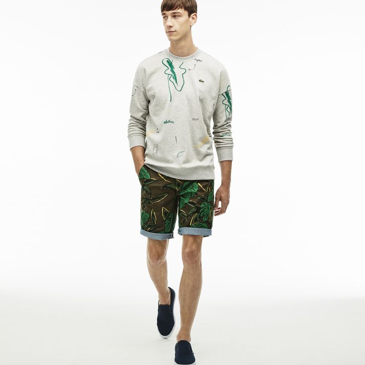 LACOSTE Men's L!VE Stretch Twill Cuffed Bermuda Shorts - BAOBAB/MULTICO. #lacoste #cloth #