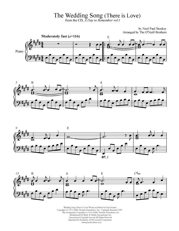 The Wedding Song Wedding Sheet Music Preview Download Play