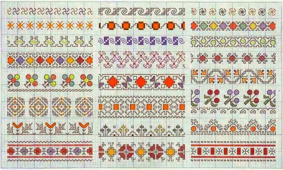 charts for borders and everything #knitting #embroidery