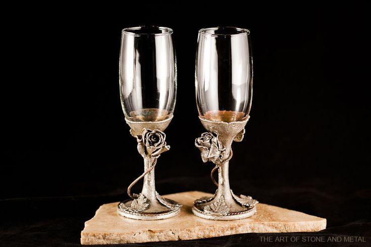 """Купить Парные бокалы """"Серебряные розы"""" - свадебное украшение, свадебный подарок…"""