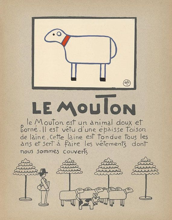 Sheep Art Print for Children - Le Mouton - Vintage Print Reproduction