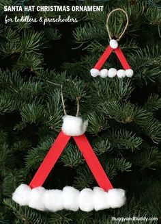 """Source: <a href=""""http://BuggyAndBuddy.com"""" rel=""""nofollow"""" target=""""_blank"""">BuggyAndBuddy.com</a> 7. Santa Hat Here's another great ornament for your young children. All you need to do is form a simple triangle, have the kids paint the sticks red and then glue on some cotton balls! It's easy and very inexpensive and makes your kids feel like a big part of decorating the tree.Continue Reading…"""