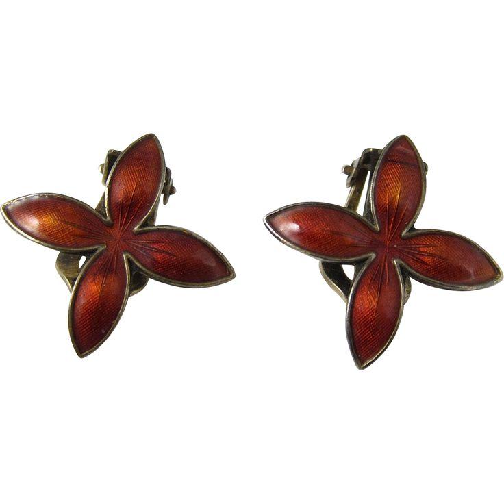 Vintage Norwegian 925 Sterling Silver & Red Enamel Clip Earrings