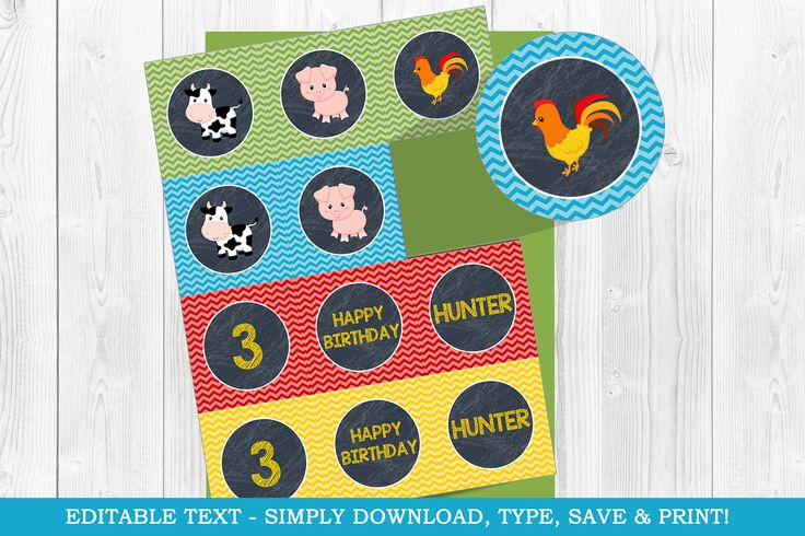 Farm Cupcake Toppers, Farm Tags,  Barnyard Toppers, Barnyard Cupcake Toppers, Farm Party, Cupcake Toppers, Printable, Tags, Party Circle by WolcottDesigns on Etsy