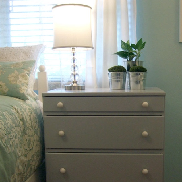 Nightstand, lamp, touches of silver | Bedroom Inspiration