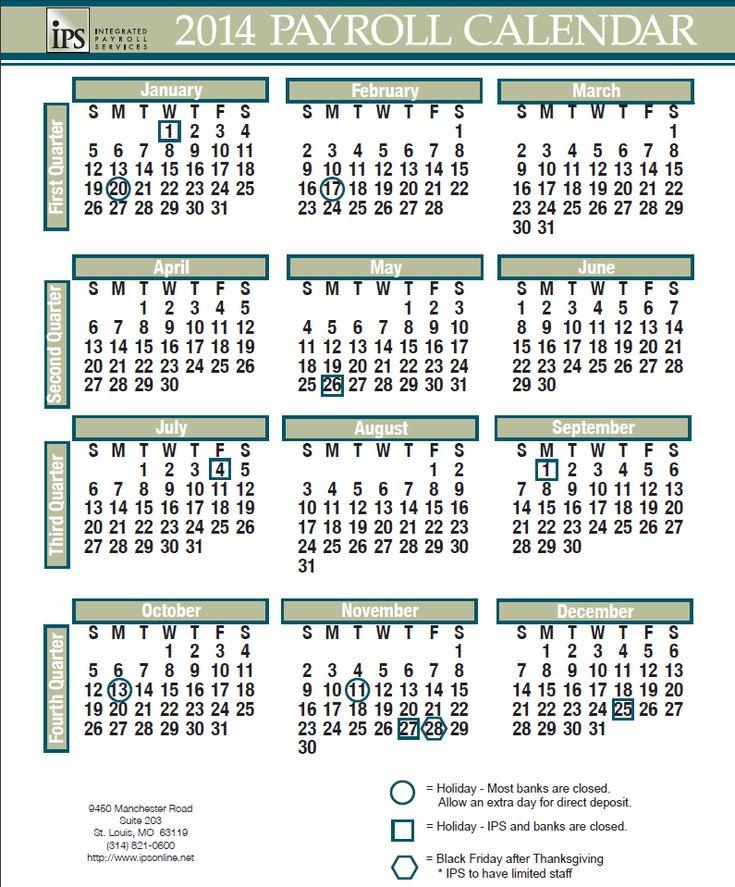 2014 Payroll Calendar #iPS