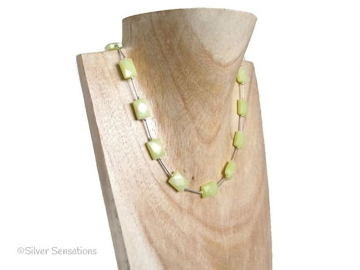 Lemon Yellow Jade Designer Necklace £25 + P & P #craftbiz #ValentinesDay @htlmp #handmadehour http://www.silver-sensations.co.uk/lemon-yellow-olive-jade-faceted-oblongs--sterling-silver-tubes-necklace-58-p.asp