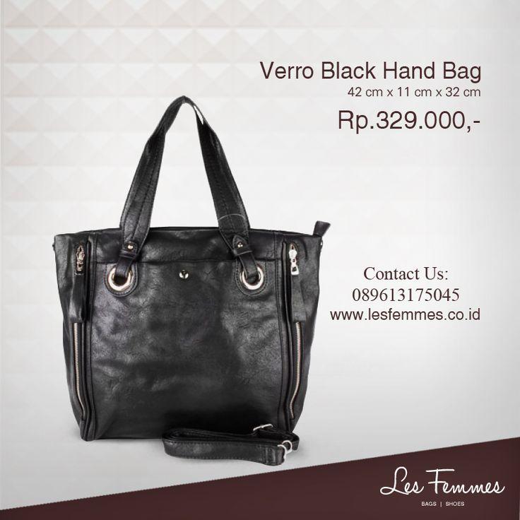 Verro Black Hand Bag 329,000 IDR #Fashion #Woman #bag shop now on http://www.lesfemmes.co.id/hand-bags/verro-black-hand-bag