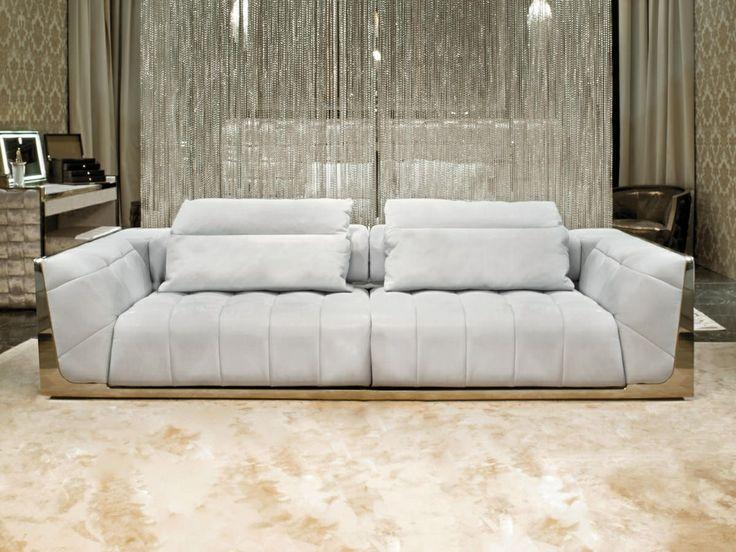 Mirrored Sofa White Pillow Top Luxury Furniture Home