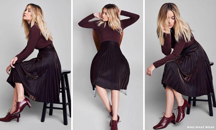 On Lauren Conrad:COSsweater and shoes; LC Lauren Conrad RunwayMetallic Pleated Skirt($64); Maya BrennerOval Geo Stacking Ring in 14K Gold($1150).