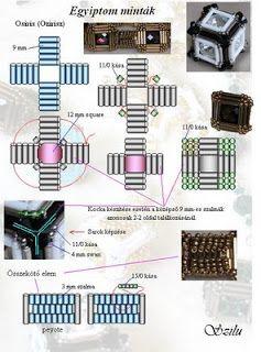 Szilu: Osiris (Ozirisz)  Square motif with bugle beads