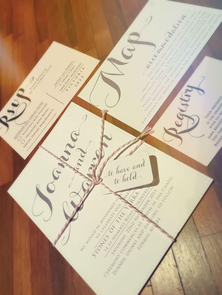 Romantic font pastel pink wedding invitation set. Go to www.lovemytype.com.au
