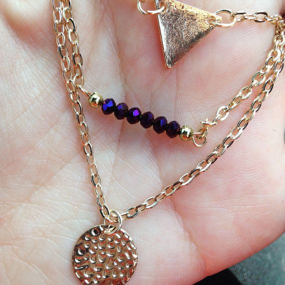 Purple Multi Strand Gold Necklace Fashion by Alwaysbethemermaid  20% OFF all orders above £8.00 With the code MERMAID20