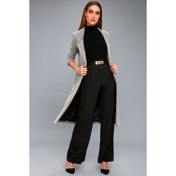 Lulus  Press Release Black Wide-Leg Pants ($35) ❤ liked on Polyvore featuring pants, black, wide leg pants, lulu pants, lightweight pants, woven pants and wide leg trousers