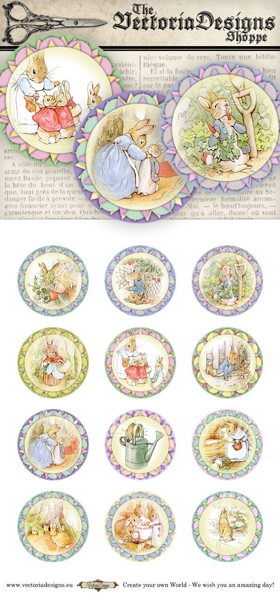 Peter Rabbit Beatrix Potter Cupcake Toppers 2 by VectoriaDesigns