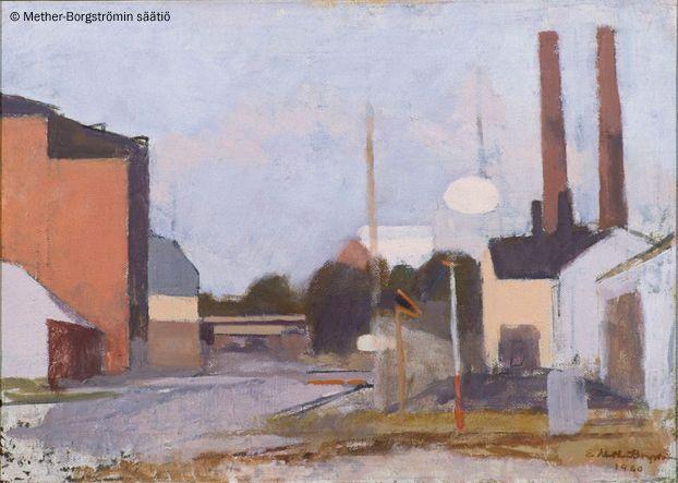 Ernst Mether-Borgström: Rautatien ylikäytävä Sörnäisissä, 1960, öljy, 33x46 cm - Mether-Borgströmin säätiö 2016