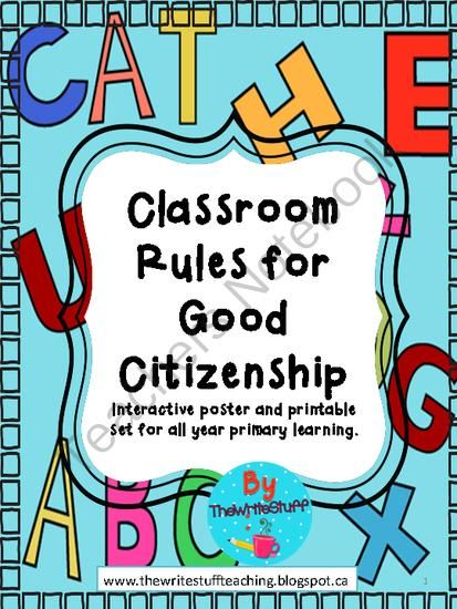 Classroom Rules for Good Citizenship - Enjoy this set of posters which help students to understand how to be a good citizen in the classroom and beyond..  A GIVEAWAY promotion for Classroom Rules for Good Citizenship from TheWriteStuff on TeachersNotebook.com (ends on 7-31-2014)