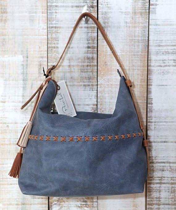 Blue leather hobo bag shoulder bag Leather Hobo purse by Percibal, $180.00