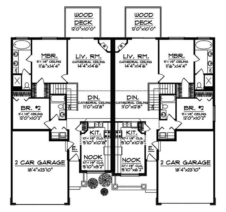 345 best duplex plan images on pinterest home plans for Multi family apartment floor plans