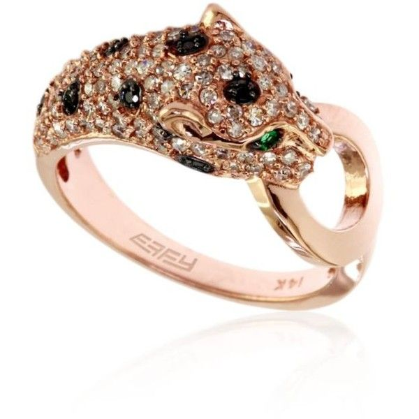 Effy Green Diamond  Emerald Leopard Ring In 14K Rose Gold ($2,040) ❤ liked on Polyvore featuring jewelry, rings, green, rose gold rings, 14 karat gold ring, pink gold rings, emerald ring and enhancer ring