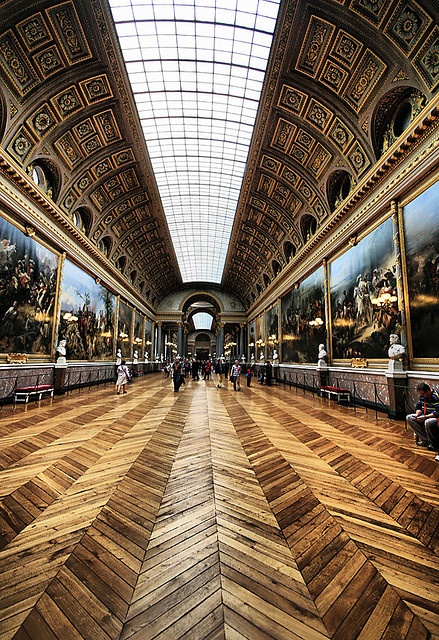 Amazing chevron floors at the Hall of Royalty at Versailles